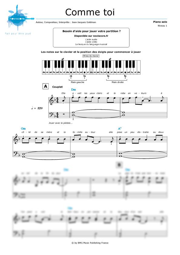 partition piano et bonjour a toi l artiste
