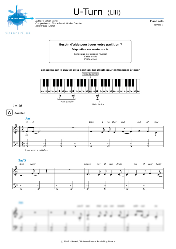Fabuleux Partition piano U turn (Lili) (Aaron) | Partitions Noviscore YZ61