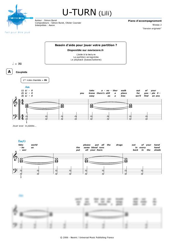 partition piano gratuite u turn lili aaron