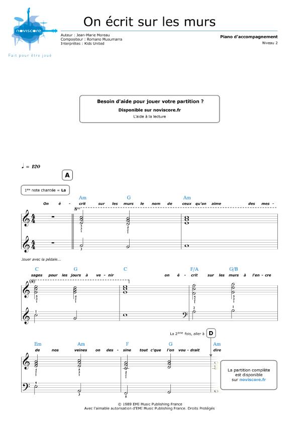Partition piano gratuite On écrit sur les murs (Kids United) Partitions Noviscore