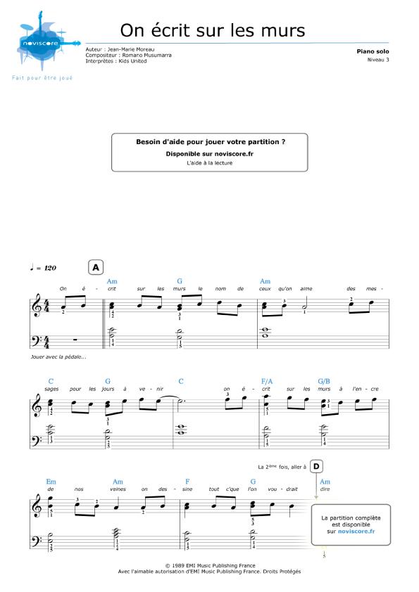 Partition piano gratuite on crit sur les murs kids united partitions noviscore - Partition les murs porteurs ...